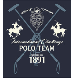Horseback polo sport international challenge vector