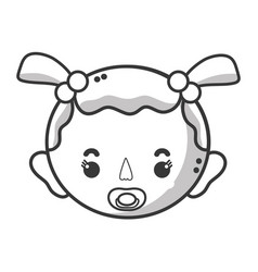 Line baby girl head with pacifier and hairstyle vector