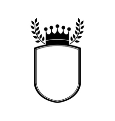 Monochrome shield with crown and olive branchs vector