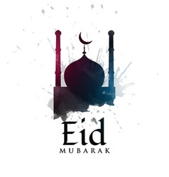 Mosque silhouette with ink splatter for eid vector