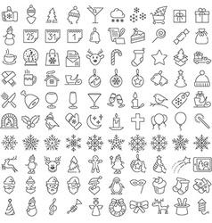 One hundred christmas icons set vector