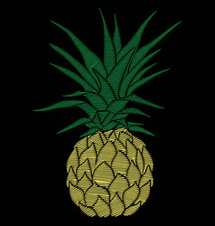 Pineapple embroidery - vector