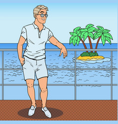 Pop art handsome man standing on private yacht vector