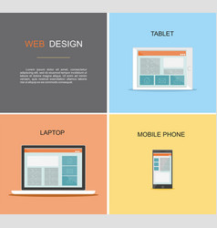 responsive web design flat design style vector image vector image