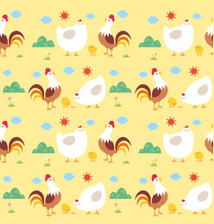 seamless pattern chicken family vector image vector image