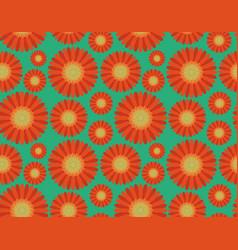 seamless pattern orange gerbera flowers vector image