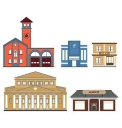 set of public buildings vector image