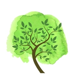 Stylized tree with brunches and leaves on green vector