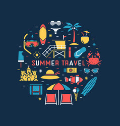 summer travel concept circle vector image vector image