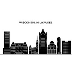 Usa wisconsin milwaukee city architecture vector