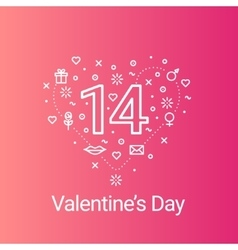 Valentines day outline heart and 14 date vector