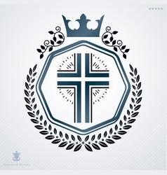 Vintage decorative heraldic emblem composed with vector