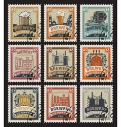Postage stamps on the theme of beer vector