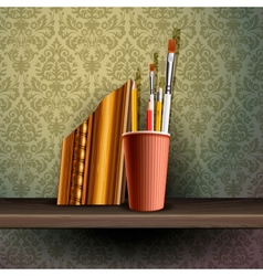 Different art brushes and pencils in flask vector