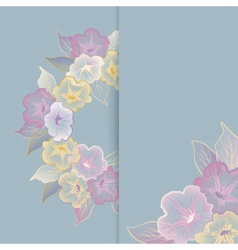 Floral template greeting card with pastel flowers vector
