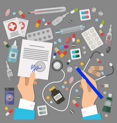 Pharmaceutics banner set medical prescription vector
