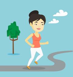asian woman running vector image