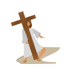 Jesus christ meet virgin mary - via crucis station vector