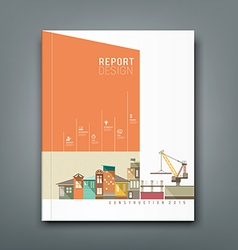 Cover annual reports building construction vector