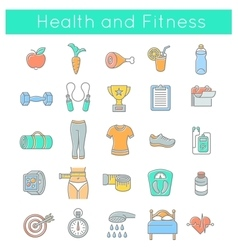 Flat thin line fitness and wellness icons vector
