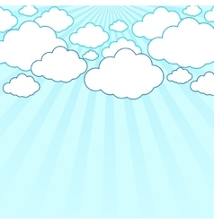 Abstract sun rays with clouds background vector image