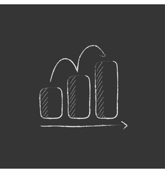 Bar chart upward drawn in chalk icon vector