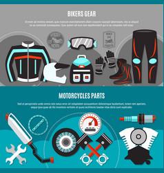 Bikers gear horizontal banners vector