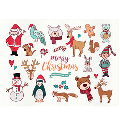 Christmas new year cute doodle cartoon collection vector