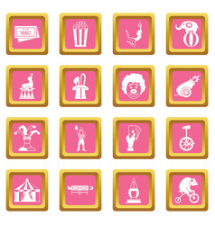 circus entertainment icons pink vector image vector image