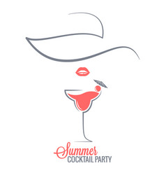 Cocktail summer party logo menu background vector