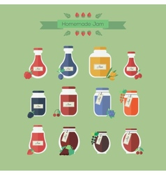 Collection of jars with jam objects vector image