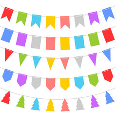 Colorful shape of bunting set on white background vector