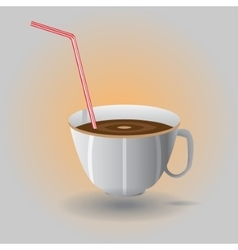 Cup with a straw vector