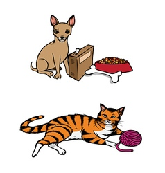 dog cat pets vector image vector image