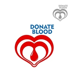 Double hearts with drop of blood inside icon vector