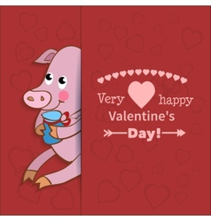 Drawn by animal pig declaration of love vector