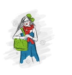 Fashion girl sketch for your design vector image