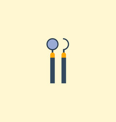 Flat icon mirror with probe element vector