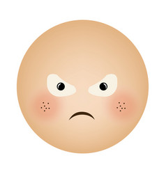 Human face emoticon furious expression vector