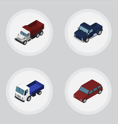 Isometric transport set of car suv freight and vector