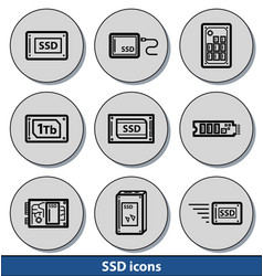Light ssd icons vector