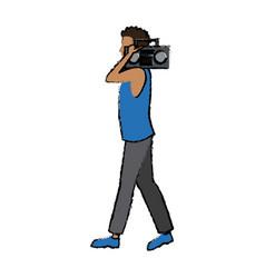 Man character walking holding stereo radio listen vector