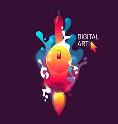 Modern vivid poster digital art abstract shapes vector
