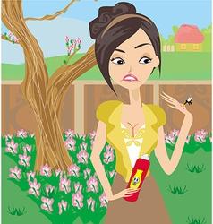 Mosquito bites girl in the garden vector