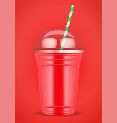 Plastic cup with smoothie and tube vector
