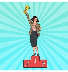 Pop art business woman standing on podium vector