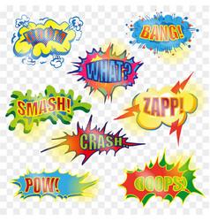 Pop art comic explosive bubble set vector