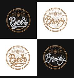Premium beer emblems handwritten lettering logo vector