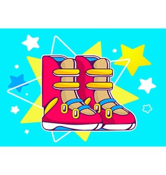 red boots on blue star background vector image