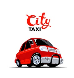 red taxi car with header on white backgro vector image